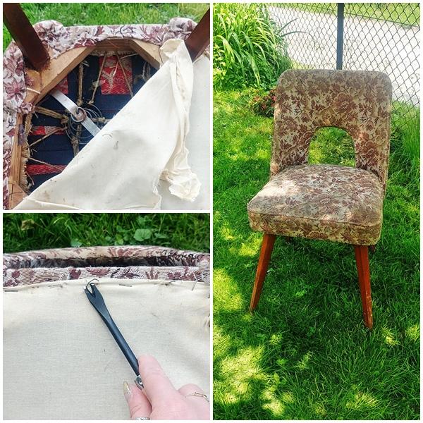 muszelka krzeslo tapicerowane 5 - KRZESŁO PRL - EFEKTOWNA METAMORFOZA MUSZELKI