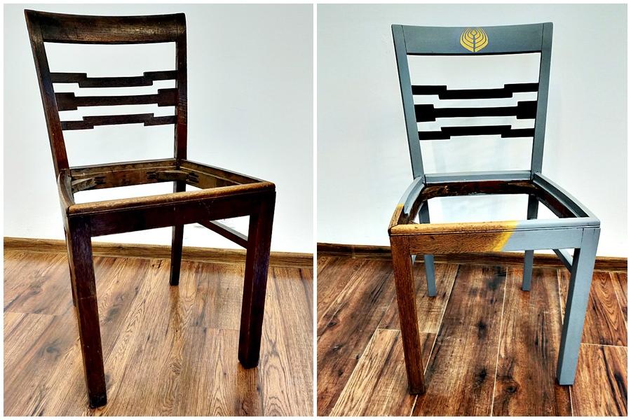 renowacja krzesla drewnianego - STYLIZACJA MEBLI - RELACJA Z WARSZTATÓW