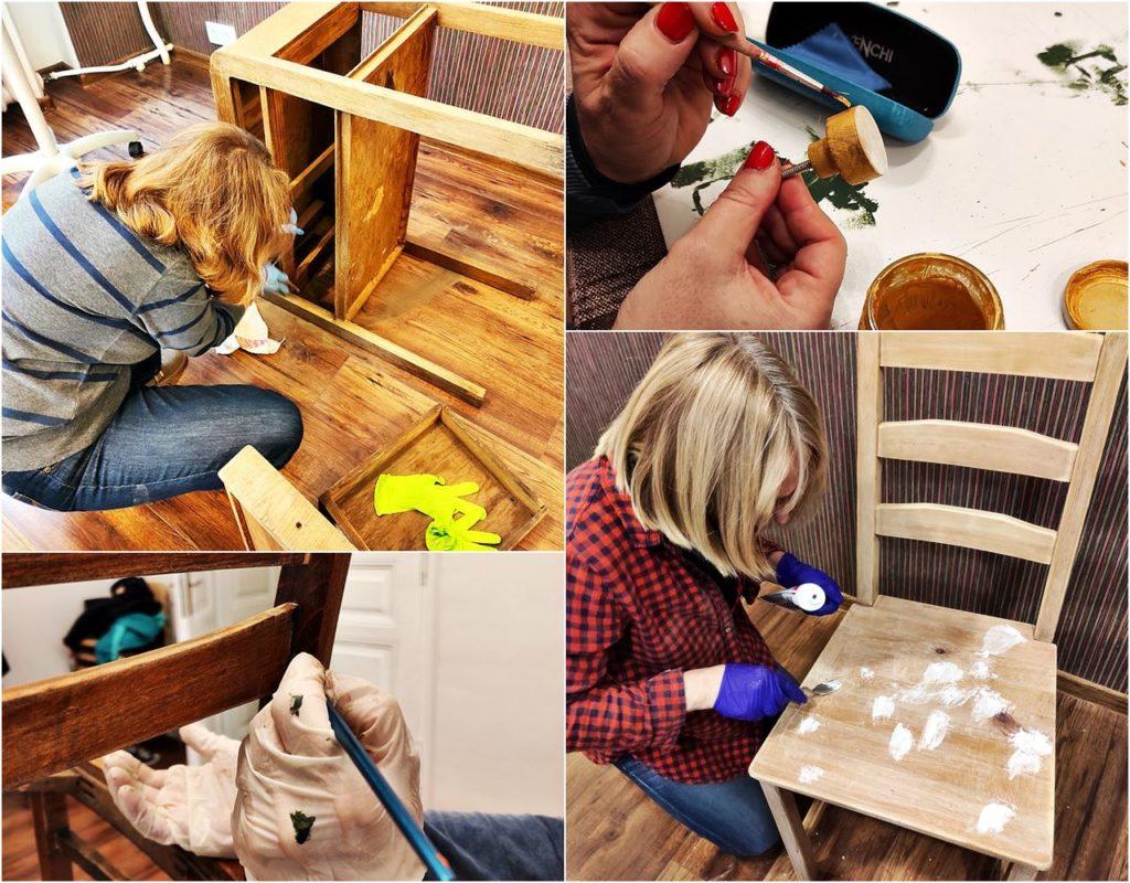 renowacja drewnianych mebli 1024x800 - ODNAWIANIE MEBLI - RELACJA Z WARSZTATÓW